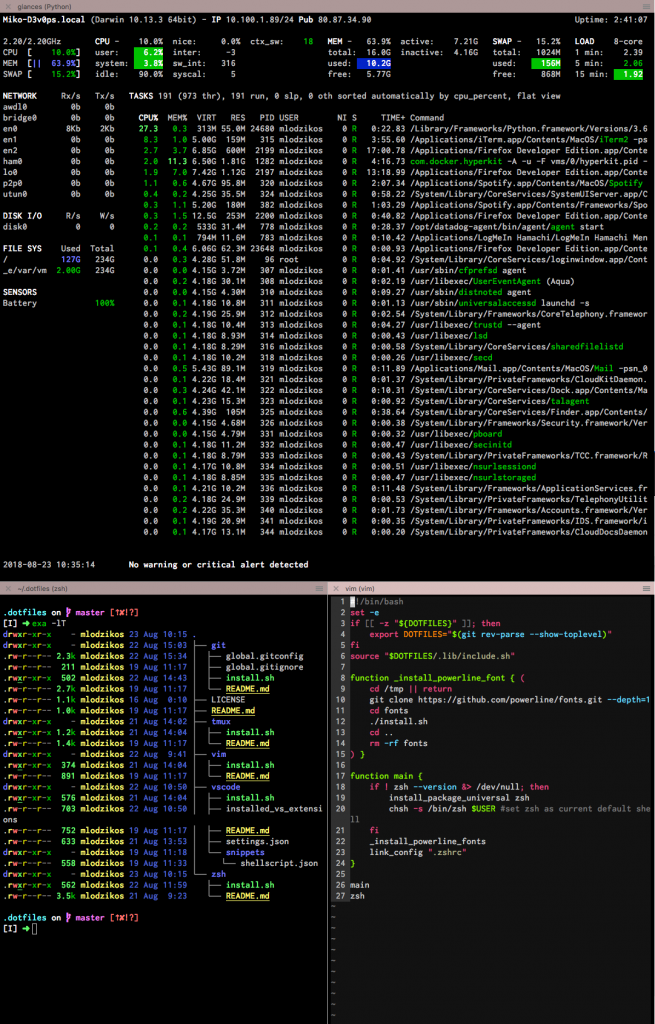 many terminal sessions in one tab