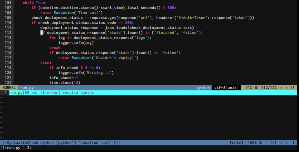 python code in vim with vundle plugins